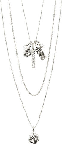 SILVER-PLATED LAYERED LEGACY NECKLACE W/ PENDANT