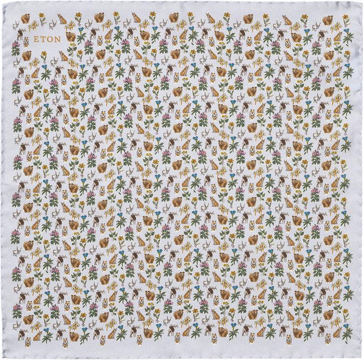 Light Blue Flora & Fauna Print Silk Pocket Square