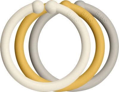 12 Packs BIBS LOOPS Ivory/Honey Bee/Sand