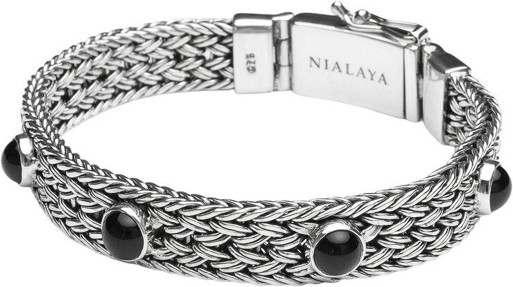 Men's Silver Braided Chain Bracelet with Black Onyx