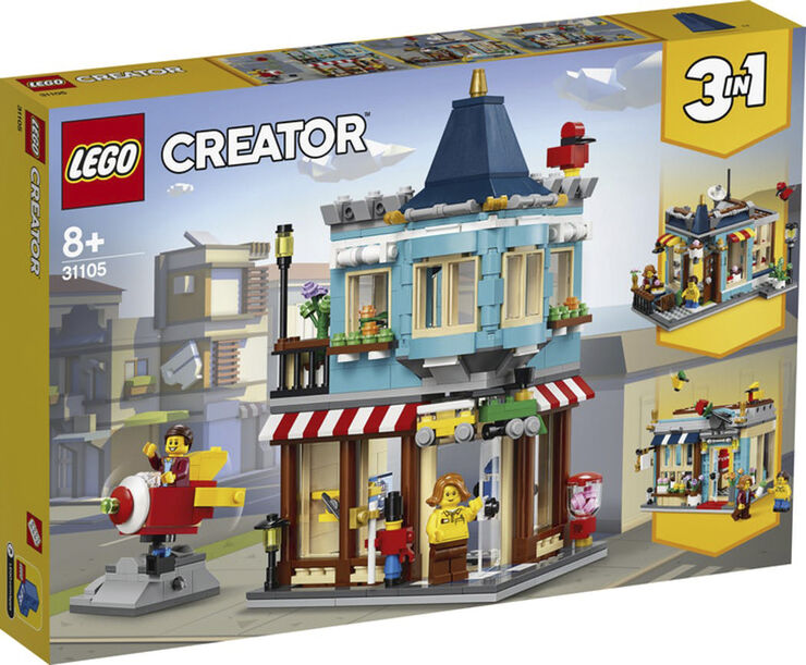 Byhus med legetøjsbutik