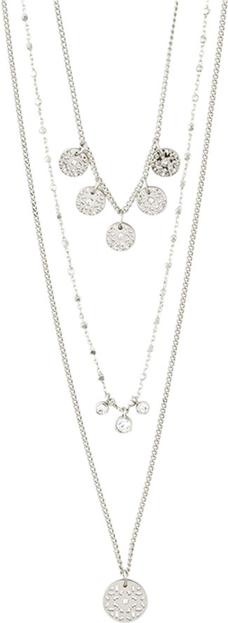 SILVER-PLATED LAYERED CAROL NECKLACE, 3-IN-1