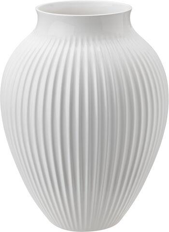 Knabstrup, vas räfflor, vit, 27 cm