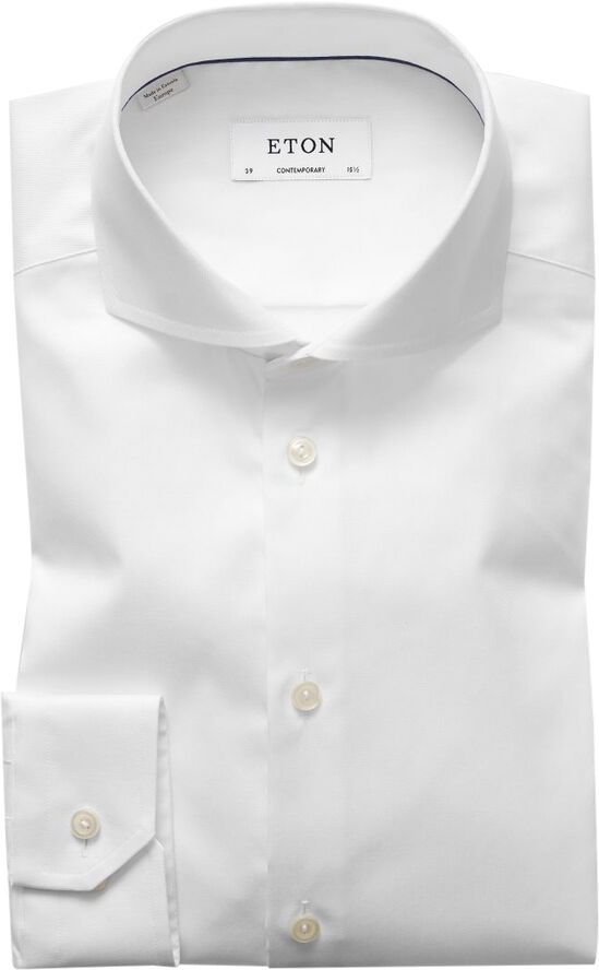 White Signature Twill Shirt - Extreme Cut Away Collar - Contemporary F