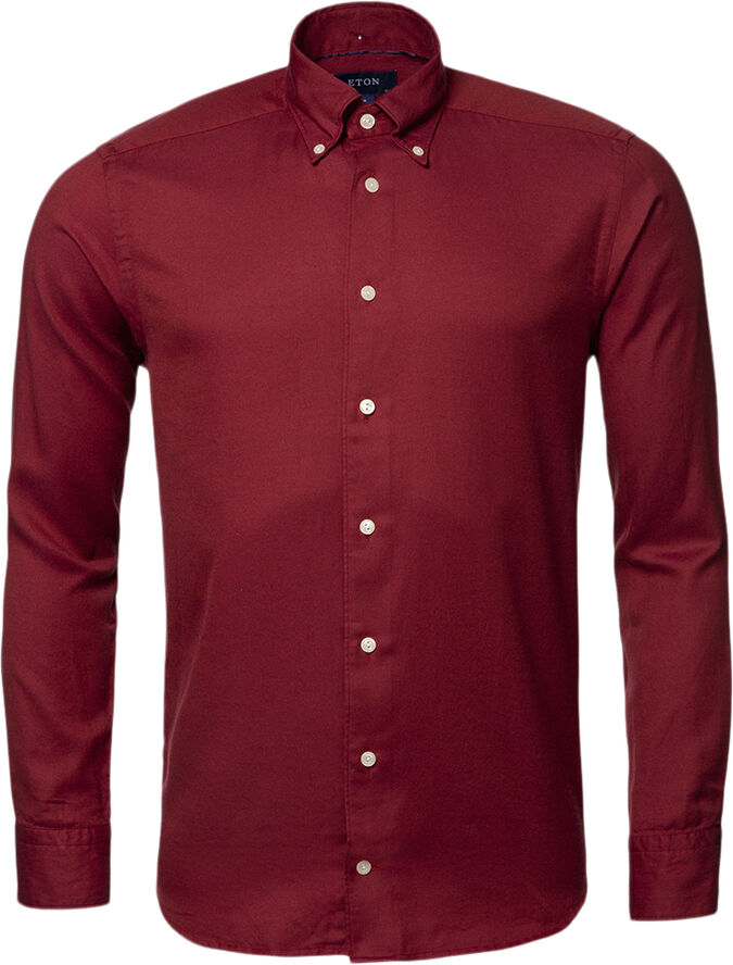 Red CottonTencel Shirt - Contemporary Fit