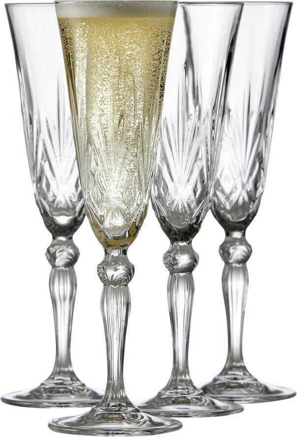 Lyngby Glas Krystal Melodia Champagneglas 16 cl 4 st Klar