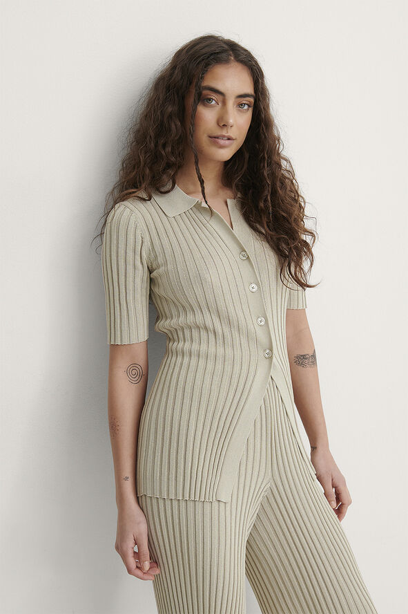 Ribbed Knitted Button Top