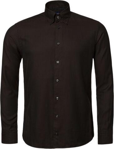 Brown CottonTencel Shirt - Contemporary Fit