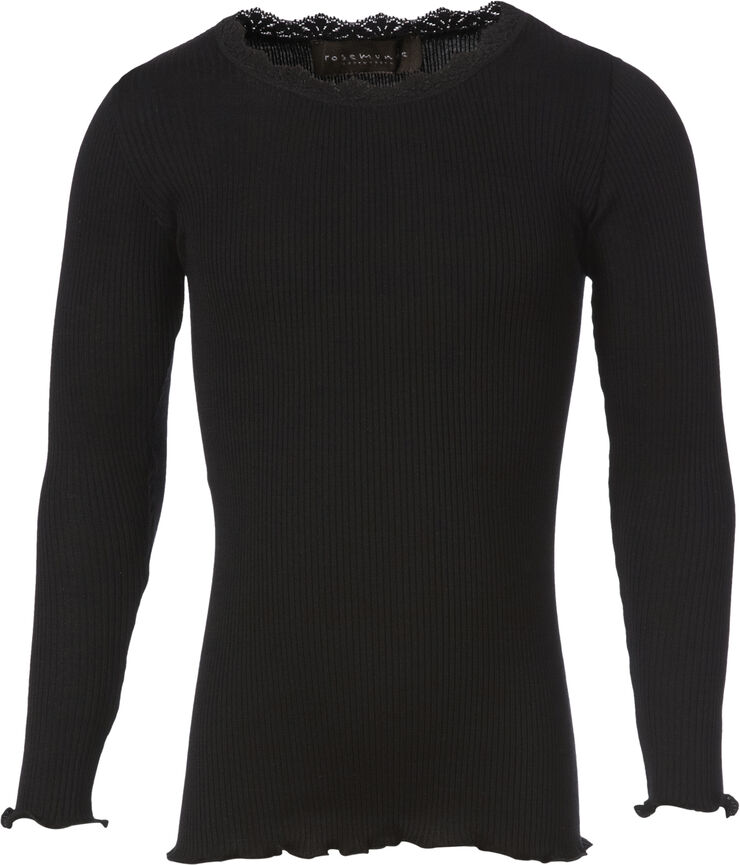 Silk t-shirt regular ls w/ lace