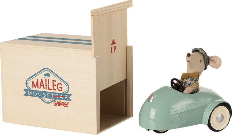 Mouse car w. garage - Blue
