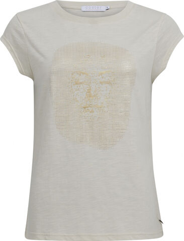T-shirt with gold face print