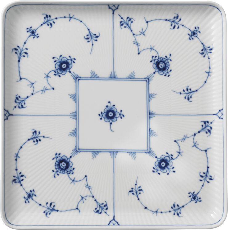 Blue Fluted Plain 20x20 cm tallrik kvadratiskt