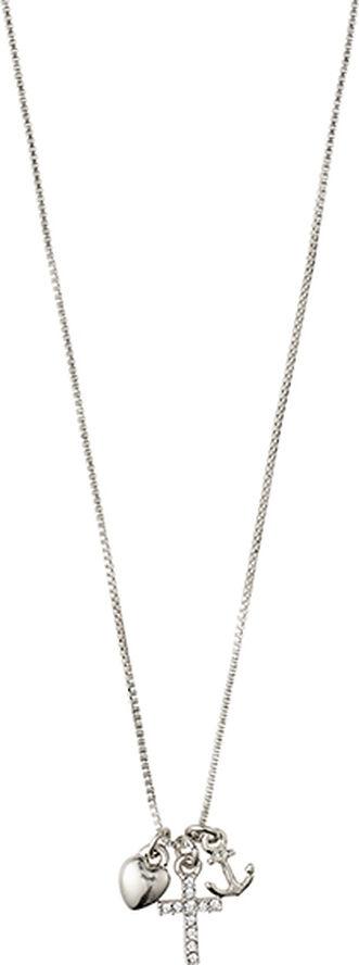 Halskæde, anet, sølvbelagt, krystal