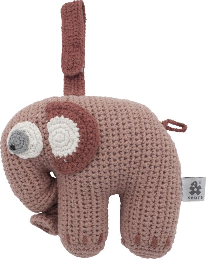 Hæklet musikuro, elefanten Fanto, blossom pink