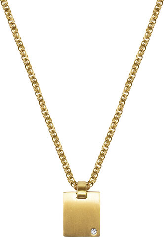 Men's Gold Mini Dog Tag with CZ