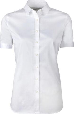 Shirt F short slv stretch satin